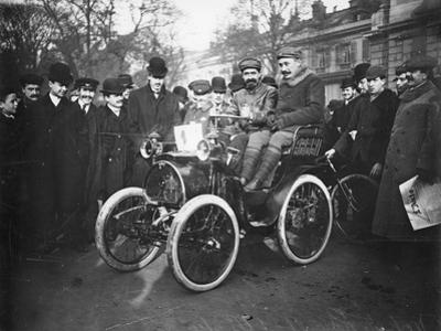 Louis Renault in the Driver's Seat of a Voiturette Renault 1¾ Hp, 1899