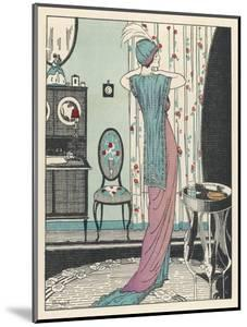 Back View of a High Waisted Draped Gown with Train by Zimmerman by Louis Strimpl