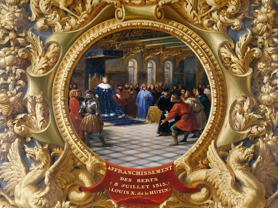 Louis X the Mischievous Emancipates the Serfs in 1315-Jean Alaux-Giclee Print