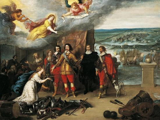 Louis XIII Receiving Keys of La Rochelle During Siege of 1628, France--Giclee Print