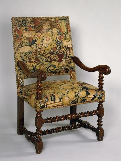 Louis XIII Style Armchair with Turned Frame and Upholstered Back and Seat, France--Giclee Print