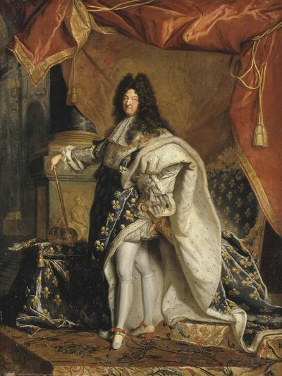 Louis XIV âgé de 63 ans en grand costume royal-Hyacinthe Rigaud-Giclee Print