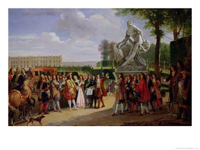 "Louis XIV Dedicating Puget's ""Milo of Crotona"" in the Gardens at Versailles, 1819-Anicet-Charles Lemonnier-Giclee Print"