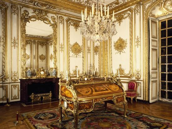 Louis XV's Study with Bureau and Cylindre--Giclee Print