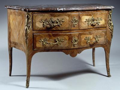Louis XV Style Chest of Drawers in Tulipwood and Rosewood with Veneer Finish--Giclee Print