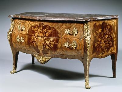 Louis XV Style Chest of Drawers with Madagascar Rosewood and Amaranth Inlays and Gilt Bronzes--Giclee Print