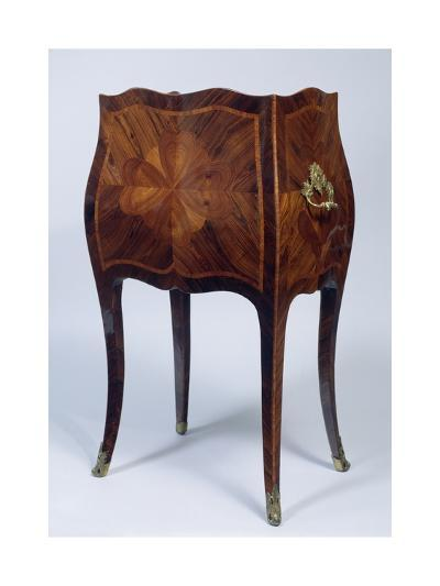 Louis XV Style Genoese Bedside Table in Madagascar Rosewood and Kingwood Ca 1750, Italy, Rear View--Giclee Print