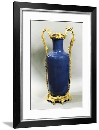 Louis XV Vase, Blue Porcelain, Lapis and Bronze, France--Framed Giclee Print
