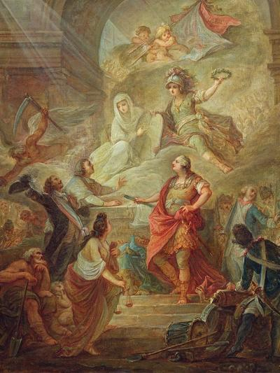 Louis Xvi (1754-93) Swearing Loyalty to the Constitution on the Altar of the Homeland-Nicolas Guy Brenet-Giclee Print