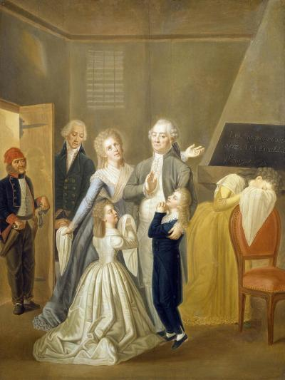 Louis XVI's Farewell to His Family, January 20, 1793-Jean-Jacques Hauer-Giclee Print