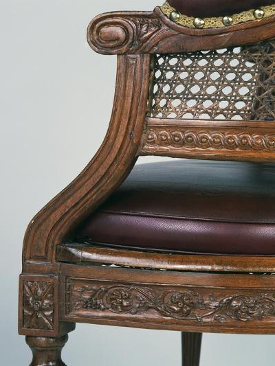 Louis XVI Style Beech Chair with Leather Seat, Stamped Demay, Jean-Baptiste Demay--Giclee Print