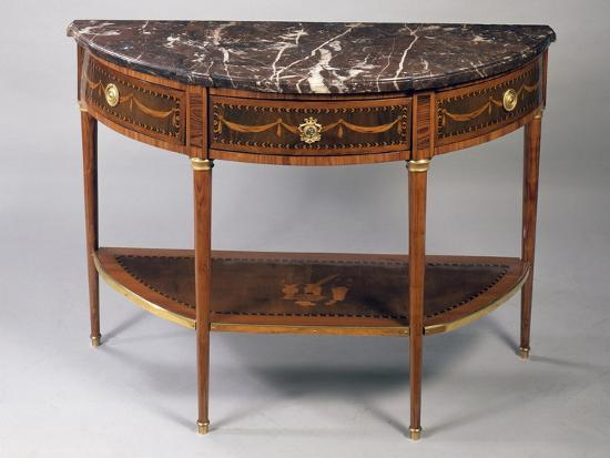 Louis XVI Style Crescent Shaped Tulipwood Dessert Console Table with Light Wood Inlays--Giclee Print