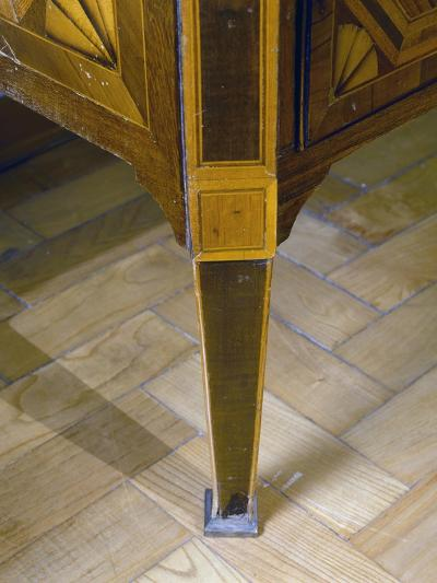 Louis XVI Style Sicilian Chest of Drawers with Inlays and Inset Marble Top. Italy, Detail of Leg--Giclee Print