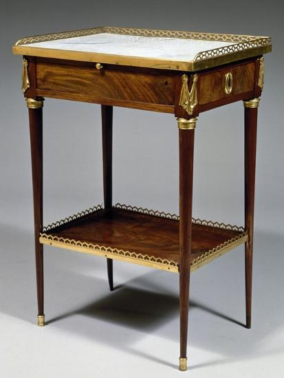 Louis XVI Style Table with Mahogany Veneer Finish and Marble Top, Stamped Charles Topino--Giclee Print