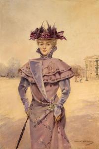 Une élégante, place de la Concorde, vers 1894 by Louise Abbema