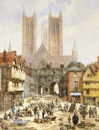 A View of Lincoln Cathedral, England by Louise J^ Rayner