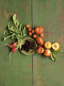 Radishes, Blackberries, Tomatoes and Nectarines by Louise Lister