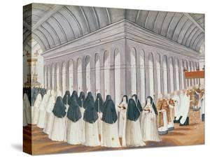 Procession of the Holy Sacrament in the Cloister, from 'L'Abbaye De Port-Royal', C.1710 by Louise Madelaine Cochin