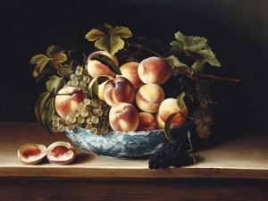 Peaches and Grapes in a Blue and White Chinese Porcelain Bowl, 1634 by Louise Moillon