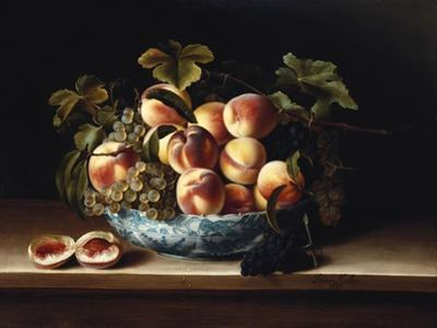 Peaches and Grapes in a Blue and White Chinese Porcelain Bowl Fruit Still Life, 1634 by Louise Moillon
