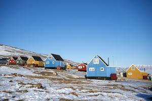 Colourful Wooden Houses in the Village of Qaanaaq by Louise Murray