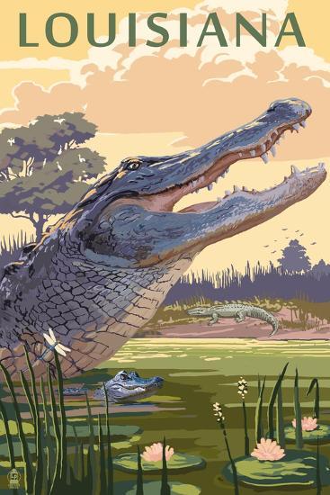 Louisiana - Alligator and Baby-Lantern Press-Art Print