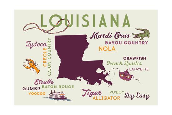 Louisiana and Icons-Lantern Press-Art Print