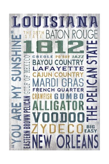 Louisiana - Barnwood Typography-Lantern Press-Art Print