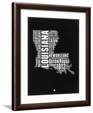 Louisiana Black and White Map-NaxArt-Framed Art Print