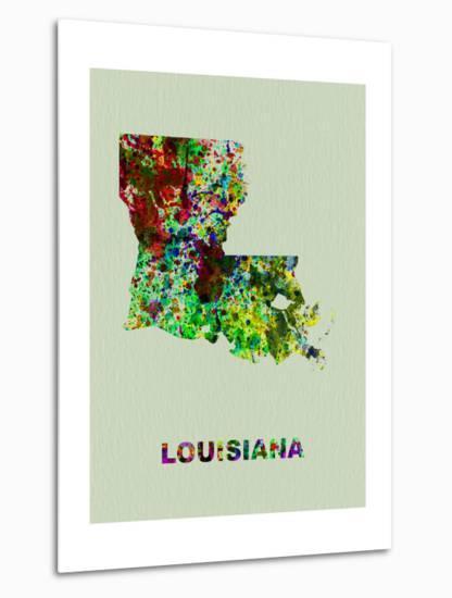 Louisiana Color Splatter Map-NaxArt-Metal Print