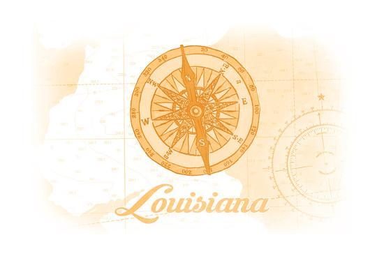 Louisiana - Compass - Yellow - Coastal Icon-Lantern Press-Art Print