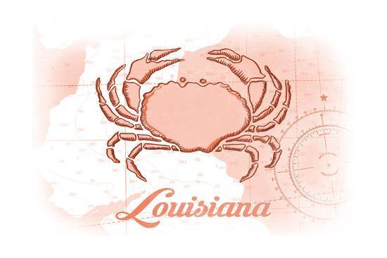 Louisiana - Crab - Coral - Coastal Icon-Lantern Press-Art Print