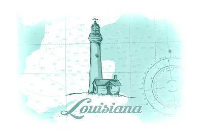 Louisiana - Lighthouse - Teal - Coastal Icon-Lantern Press-Art Print