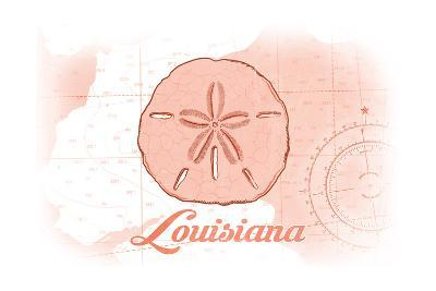 Louisiana - Sand Dollar - Coral - Coastal Icon-Lantern Press-Art Print