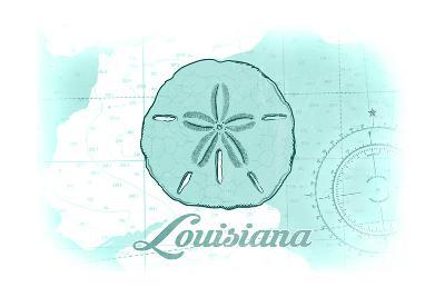 Louisiana - Sand Dollar - Teal - Coastal Icon-Lantern Press-Art Print