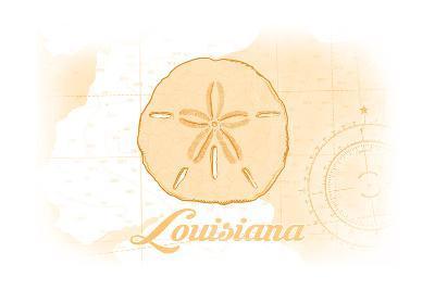 Louisiana - Sand Dollar - Yellow - Coastal Icon-Lantern Press-Art Print