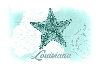 Louisiana - Starfish - Teal - Coastal Icon-Lantern Press-Art Print
