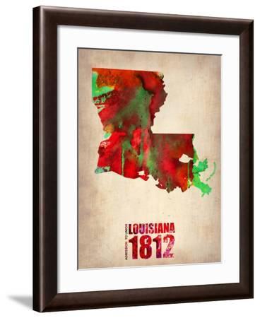 Louisiana Watercolor Map-NaxArt-Framed Art Print