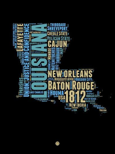 Louisiana Word Cloud 1-NaxArt-Art Print