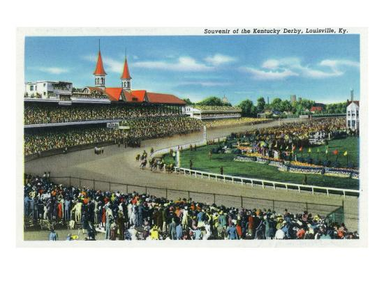 Louisville, Kentucky - General View of Crowds at the Kentucky Derby, c.1939-Lantern Press-Art Print