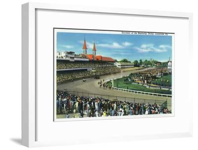 Louisville, Kentucky - General View of Crowds at the Kentucky Derby, c.1939-Lantern Press-Framed Art Print