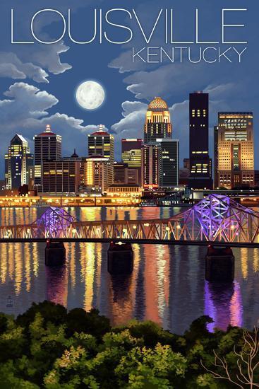 Louisville, Kentucky - Skyline at Night-Lantern Press-Art Print