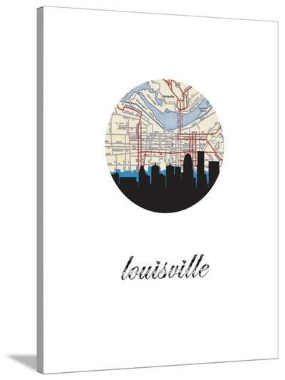Louisville Map Skyline-Paperfinch 0-Stretched Canvas Print