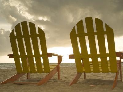 Lounge Chair Facing Caribbean Sea, Placencia, Stann Creek District, Belize-John & Lisa Merrill-Photographic Print