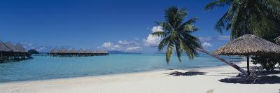 Lounge Chair under a Beach Umbrella, Moana Beach, Bora Bora, French Polynesia--Photographic Print