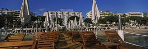 Lounge Chairs and Beach Umbrellas on the Beach, Cannes, Alpes-Maritimes, Provence-Alpes-Cote D'A...