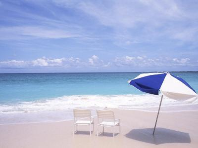 Lounge Chairs and Umbrella on the Beach-Bill Bachmann-Photographic Print
