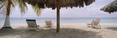 Lounge Chairs on 7-Mile Beach, Negril, Jamaica--Photographic Print