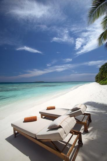 Lounge Chairs on Tropical Beach, Maldives, Indian Ocean, Asia-Sakis Papadopoulos-Photographic Print