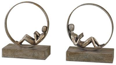 Lounging Reader Antique Bookend Pair